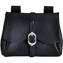 bolsa medieval con hebilla y trabillas de cuero negro 18x13x3 cm