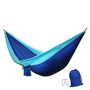 Yokimico hamac portable en tissu de nylon parachute double charge 600 g ultra l ger r sistant - Mobilier de jardin resistant aux intemperies ...