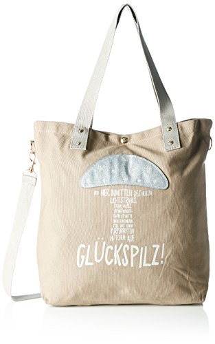 Adelheid Damen Glückspilz Einkaufstasche Shopper, Braun (Taupe 366), 44x39x10 cm