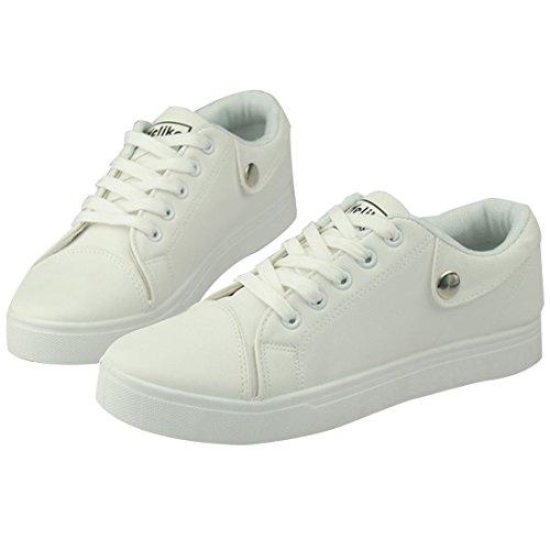 Sapatos Brancos Sólida Até Do Cor Rendas Oasap Desportivo Homem pOqqw6Z0