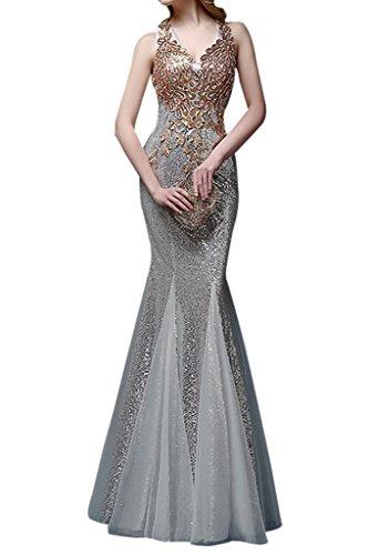 Charmant Damen Elegant Pailletten Stickreien Steine abendkleider ballkleider Partykleider meerjungfrau Trumpet Lang Silber
