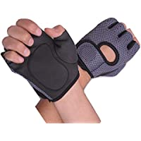 BlueeTM Weight Lifting Gloves with Padded & Anti-Slip Silica Gel Grip & Adjustable Fasteners, Gym Gloves for Yoga, Workout, Sports, Fitness, Cross Training (Men & Women) (L, Black)