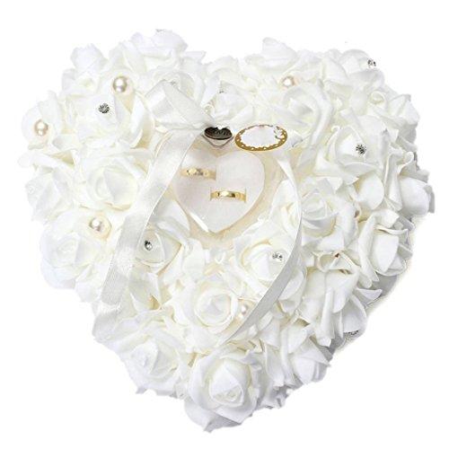 Romantic Rose Band Herzform Ring Kissen Box Schmuck Hochzeit Geschenk, plastik, weiß, Einheitsgröße (Band, Kissen)