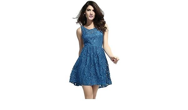 La vogue Rückfrei Evening Dress Prom Cocktail Party Evening Clubwear Short - Blue - One size: Amazon.co.uk: Clothing
