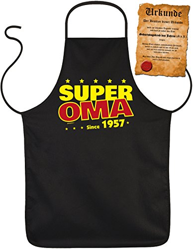 Grand-mère de Fun/anniversaire/AN gangs/barbecue/Tablier + de plaisir de certificat : Super Oma Since 1957 Idée Cadeau