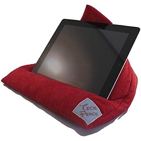 Tech Perca, rojo ante sintético iPad Tablet almohada; Grande para tabletas de 10. Hecho a mano atril de cojín puf