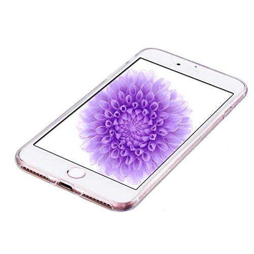 iphone 7 Plus Hülle, E-Lush TPU Soft Silikon Tasche Transparent Schale Clear Klar Hanytasche für iphone 7 Plus (5.5 Zoll) Durchsichtig Rückschale Ultra Slim Thin Dünne Schutzhülle Weiche Flexibel Hand Kleine Chrysantheme