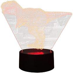 Luz solar LED exterior sensor de movimiento Dinosaur 3D Night Light Table Desk Lamp 7 colores ilusión óptica 3D Lights Scont