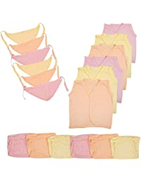 CEE 18 New Born Baby Dress Organic Cotton Hosiery Plain Jabla Clothing with Nappies & Caps Combo- Pack of 18 (3 Colors, 0-3 Months)