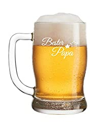 FORYOU24 Leonardo Bierkrug Bierseidel mit Gravur Motiv Bester Papa- Geschenkidee Bierglas graviert Vatertag