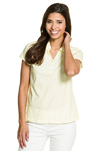 GINA LAURA Damen bis Größe 3XL | Polo-Shirt Basic | Slim-Fit, Kurzarm | Tailliert | Reine Baumwolle | Kaltfärbung | Pastellgelb XXL 711045 63-XXL (Polo Jersey Shirt 50)