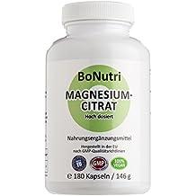 BoNutri Magnesiumcitrat 400 mg Tagesdosis 180 vegane Kapseln Ohne Magnesiumstearat Beste Qualität Konzentrat Hochdosiert konzentriert Vegan Glutenfrei Laktosefrei Rückgaberecht NEU