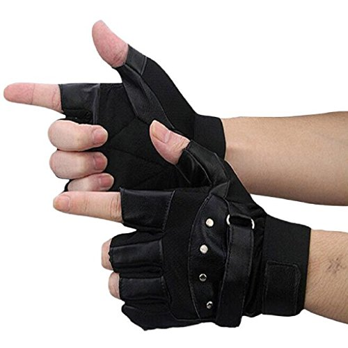 Kanpola Herren Handschuhe Weiches Schaf-Leder, das Motorrad-Radfahrer Fingerless warme Handschuhe fährt (8.5, (Kostüme Leder Fahrt)