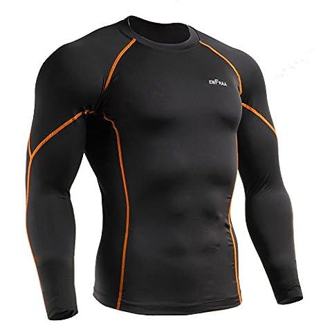 emFraa Sport pour Femme Noir-T-Shirt de Compression à manches longues pour Homme Taille M