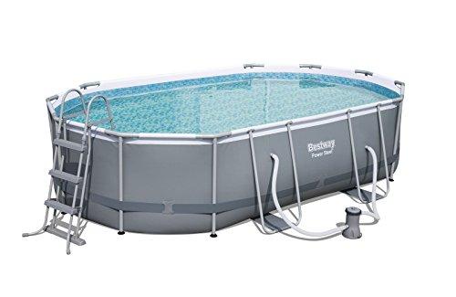 Bestway Power Steel Frame Pool Set oval, mit Kartuschenfilterpumpe und Leiter, 488x305x107 cm, grau