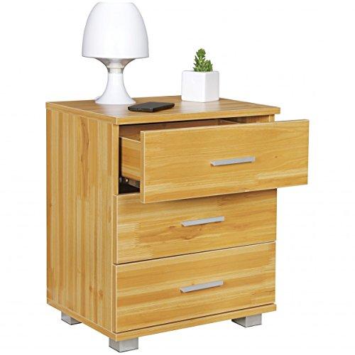 ... Schubladen In Holz Buche Dekor Modern | Breite: 45cm Höhe: 54cm Tiefe:  34cm | Design Nachtkästchen Mit Füßen | Nako   Nachttisch Kommode |  Nachtschrank