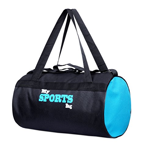 Fashion 7 Polyester Black-Sky Blue Sports Duffle