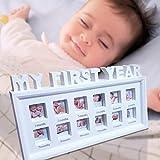 GEMITTO Bilderrahmen, DIY mein erstes Jahr-Baby-Wachstums-Foto-Rahmen-Bildanzeige, 12 Monate Geburtstags-Geschenk-Andenken Weiß