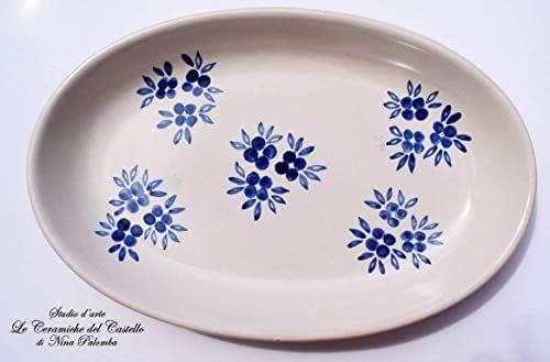 Piatto Ovale Linea Fiori Blu Ceramica Realizzato e Dipinto a mano Le Ceramiche del Castello Nina Palomba Made in Italy Dimensioni 26,5 x 17,5 centimetri Garantito per Alimenti Idea Bomboniera