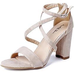 AgeeMi Shoes Damen Riemchen Metallic Blockabsatz High Heels Sommer Party Schuhe,EuL22 Aprikosen Farbe 40