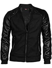 Sourcingmap Allegra K Christmas Men Imitation Leather Panel Long Sleeve Rib Knit Trim Baseball Jacket