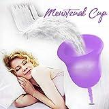 Donix Coupe Menstruelle - Moon cup 100% Silicone de Protection d'Hygiène Féminine Médicale et Sanitaire Moon cup pour Femme, sac de rangement gratuit(Violet)