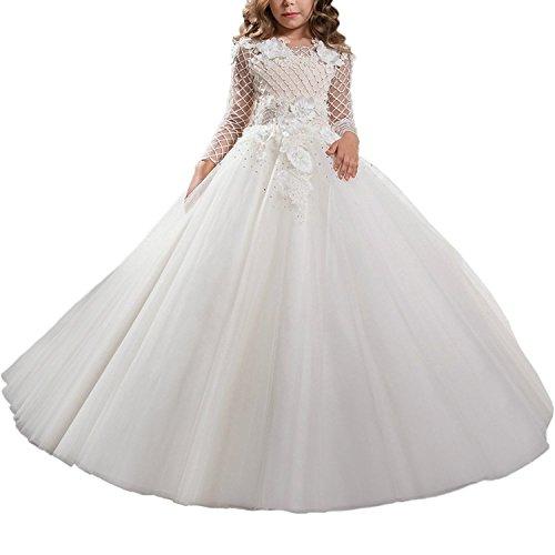 Lilis Mädchen mit langen Ärmeln Blume Mädchen Prinzessin Kleider Erstkommunion Kleider