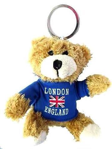 Doux nounours Londres & Angleterre Union Jack - Souvenirs de Londres - porte-clés ourson blanc doux - J'aime Londres Keychain - porte-clés Souvenir de Londres + LONDRES SOUVENIR METAL CUT BUS KEYRING achetez 1 Obtenez 1 gratuit