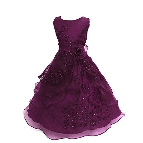 Festliches Mädchen Kleid Pinzessin Kostüm Lange Brautjungfern Kleider Hochzeit Party Festzug Blumenmädchenkleider Traube Lila 130