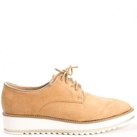 Ideal Shoes - Derbies effet daim Acalia Camel