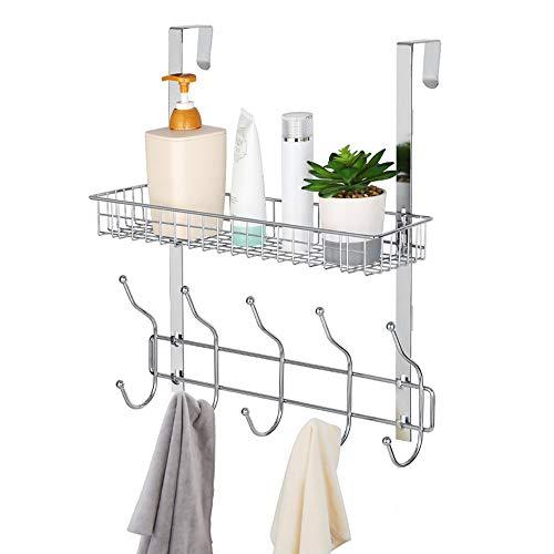 NEX Türregal Hängeregal ohne Bohren mit 5 Haken & Mesh Korb für Badezimmer Küche, Silber
