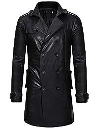 LQQSTORE Mantel Herren Jacke Windjacke Lederjacke Outwear Männer Lange  Lokomotivjacke Herbst Winter Coat Casual Revers Leder 2447cecfa5