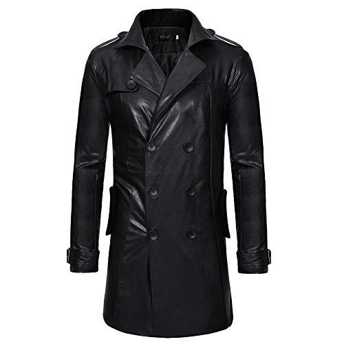 en Jacke Windjacke Lederjacke Outwear Männer Lange Lokomotivjacke Herbst Winter Coat Casual Revers Leder Reißverschluss Langarm Tops Tasche Trenchcoat Oberbekleidung ()