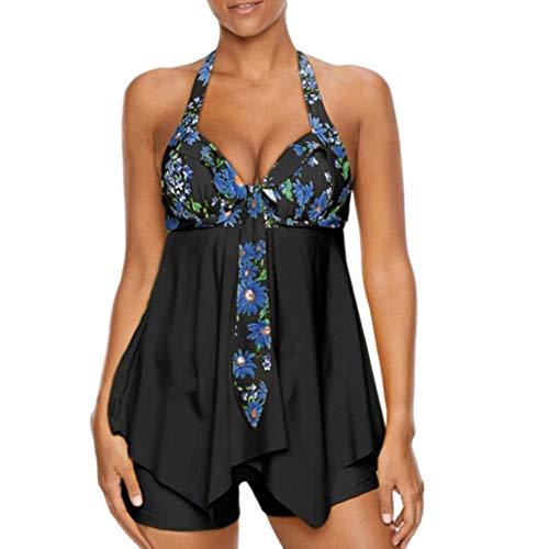 MRULIC Badeanzug Damen Plus Size Tankini Sets Shorts Swimdress Beachwear Sommerferien(A2-Schwarz,EU-46/CN-3XL) (Plus Size Designer)