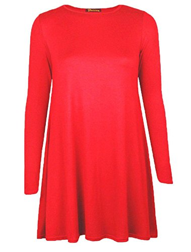 Islander Fashions femmes manches longues Swing patineuse robe dames col ras du cou fantaisie Party Wear robe Top S / 3XL red