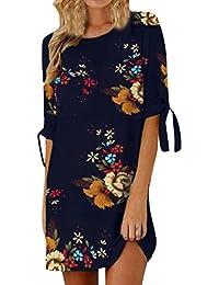MORCHAN Aux Femmes Robe de Cocktail décontractée à Manches Courtes Bowknot  imprimé Floral 9f7b7e55fdb0