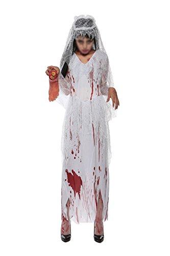 Damen Halloween Vampir Kleid Brautkleid Teufel Tragen Kostüm Halloween Party Pack Zombie,White-OneSize (Halloween Kostüme Herkunft)