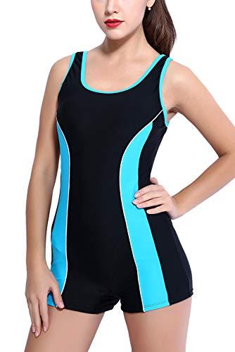 Vegatos Damen Schwimmanzug Mit Bein Racer-Back Einteiliger Badeanzüge Boyleg Sport Badeanzug Figurformend Blau S