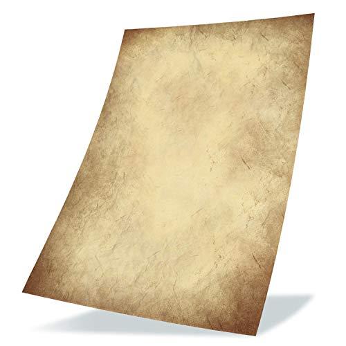 50 Stück Altes Papier 100g/qm plus 10 Blatt Kraftpapier, DIY DIN A4 Antik Briefpapier beidseitig Druck Kommunion, Papierrolle für Landkarte, Kinder Schatzsuche, Historische Einladungen, Auszeichnungen