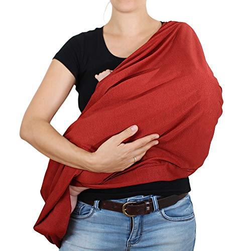 Amazy Stillschal für Mama & Baby - Multifunktionales XL Stilltuch zum diskreten Stillen oder als Autositzbezug, Einkaufswagenschutz und Sonnenschutz   In 5 Designs erhältlich (Dunkelrot   Kreise)