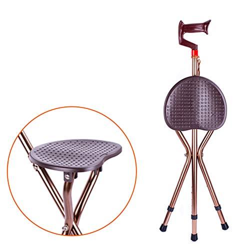 Tragbarer Faltender Gehender Steuerknüppel Mit Sitz-Justierbarer Höhe Stativ-Stock-Wandernder Stuhl-Aluminiumlegierung