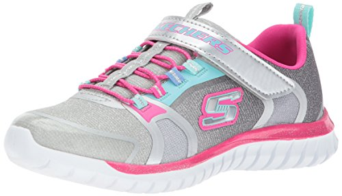 Skechers Kids Girls' Speed Trainer-Glimmer Time Sneaker, Gray/Multi, 4 M US Big Kid