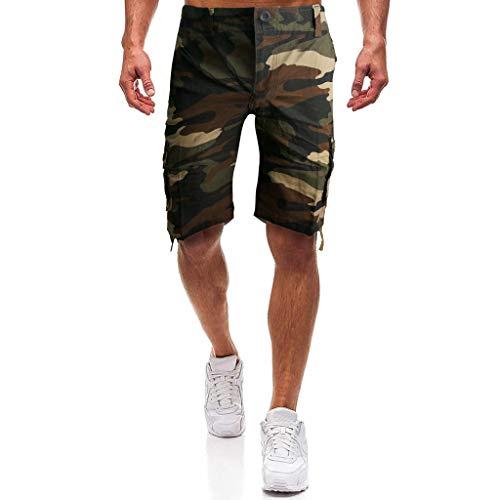 Sonnena Herren Sommer Sweatshorts, Loose Freizeithosen Multi-Pocket Tarnung Cargo Pants Casual Trainingshose Sporthose Strand Shorts Beachshorts