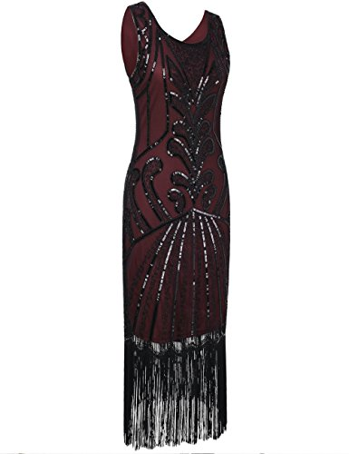 PrettyGuide Femmes 1920 Vintage Perlé Art Déco Inspiré robe de cocktail Charleston Bourgogne