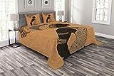 Abakuhaus afrikanische Frau Tagesdecke Set, Afrika Lokale Frau, Set mit Kissenbezügen Moderne Designs, für Doppelbetten 220 x 220 cm, Multicolor