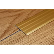 """Flat Threshold Carpet Door Aluminium floor edging bar trim strip 40mm 1M (39.37"""") Length - various colour FREE DELIVERY for an aesthetic finish of laminate, terracotta, fitted carpets and prevents stumbling over protruding edges By TMW PROFILES (Anodised Gold)"""