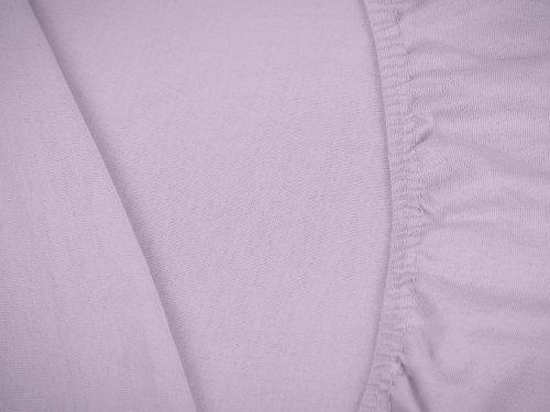 npluseins klassisches Jersey Spannbetttuch - erhältlich in 34 modernen Farben und 6 verschiedenen Größen - 100% Baumwolle, 90-100 x 200 cm, flieder - 5