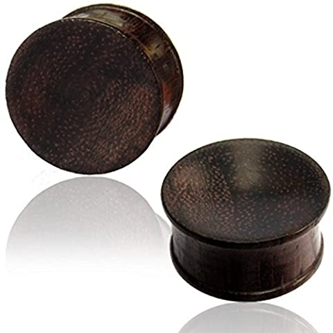 Chic-Net Tribal Wood Plug Dark Brown Unisex Wooden Plug Hand Carved Sono Wood Tunnel Earrings earring studs Size:22