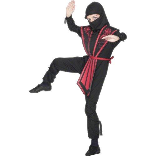 Krieger Kostüm Schwarz L 158 cm Ninja Outfit Krieger Kämpfer Kostüm Ninjakostüm Junge Samurai Outfit (Die Jungen Ninja Krieger Kostüme)