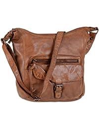 3aa99907a4e041 Bear Design Damen Tasche Ledertasche Umhängetasche Schultertasche cognac